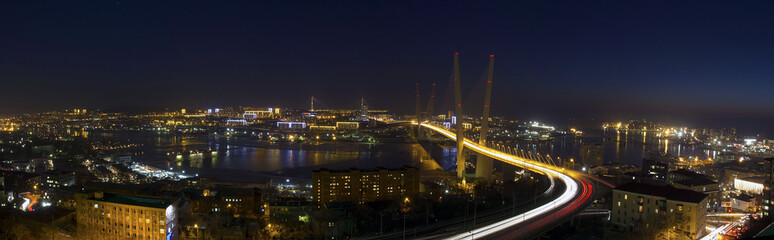 Panorama of Zolotoy Rog bay, Vladivostok, Russia