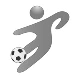 Person with a soccer ball icon logo vector