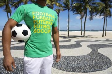 Brazilian Football Player Holding Soccer Ball Copacabana Rio