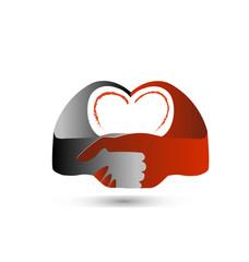 Handshake love heart vector logo