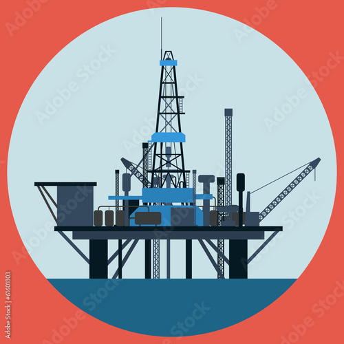 Oil platform flat vector illustration