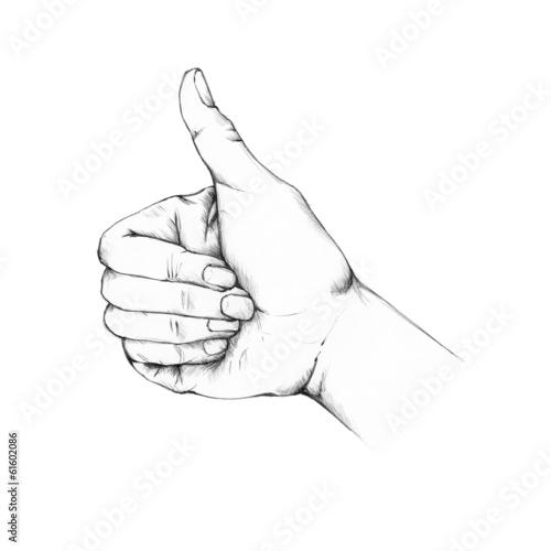 Hand mit hochgestelltem Daumen