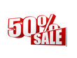 50 percentages sale in 3d letters and block