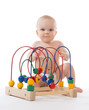child baby toddler sitting and playing wooden educational toy