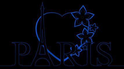 Eiffel Heart - Blue & Black