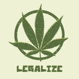 Grunge style marijuana leaf. Legalize medical cannabis