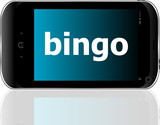 smart phone with bingo word