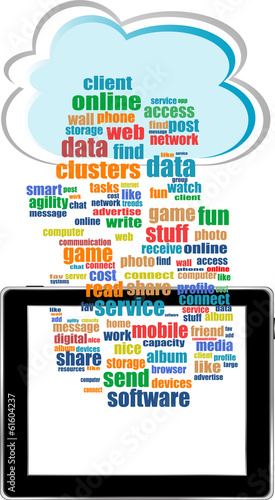 communicator with social network word cloud with tablet pc