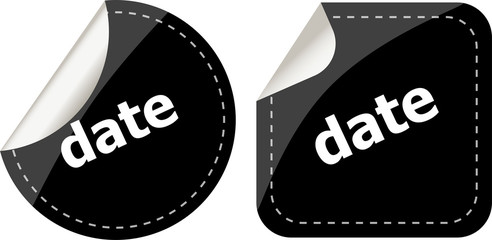 date word on black stickers web button set, label, icon