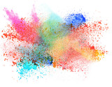 Fototapety launched colorful powder over white