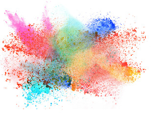 launched colorful powder over white