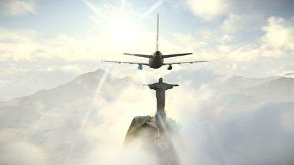 Plane arriving in Rio de Janeiro and Christ the Redeemer