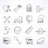 Car parts and services icons - vector icon set 2