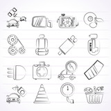 Car parts and services icons - vector icon set 3