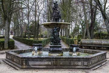Ornamental fountains of the Palace of Aranjuez, Madrid, Spain