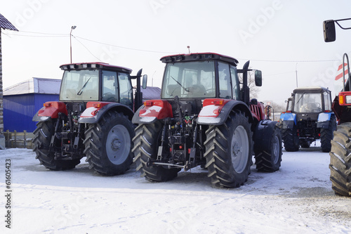 agricultural tractors in winter storage