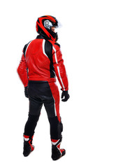 motorcyclist in red back view