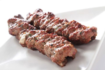 shish kofta kofte kebab isolated on white background