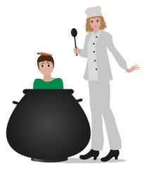 illustrazione ironica di donna chef che mette un uomo in pentola