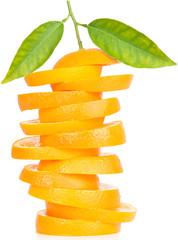Stack of orange fruit slices