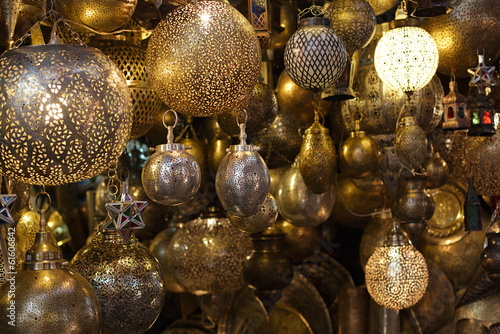 Fotobehang Marokko Moroccan glass and metal lanterns lamps in Marrakesh souq
