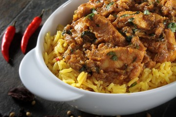 Indian balti chicken with pilau rice