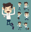 Set of businessman leaping characters poses