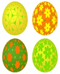 Set of four colored Easter eggs with vivid floral pattern