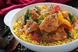 Indian chicken Jalfrezzi curry with rice