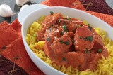 Indian chicken tikka masala curry with rice