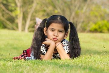 cute kids have fun in the park