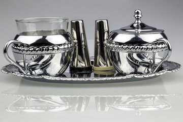 Silver Tea Set with Salt and Pepper Shaker