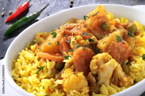 Indian vegetable curry with pilau rice