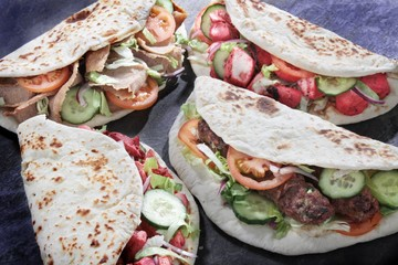 Indian Shish kofta kofte tikka lamb kebab naan sandwich