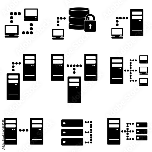 Server, big data icon set