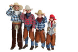 four young cowboys being silly and having fun posing