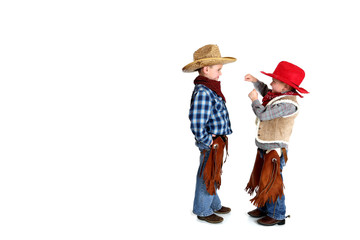 two cowboys playing fighting being silly