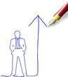Drawing future success plan for man