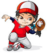 A female Asian baseball player