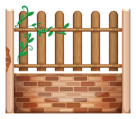 A fence made of bricks and woods
