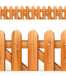 Wooden fence seamless border, vector illustration