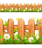 Fototapety Grass and wooden fence seamless border, vector illustration