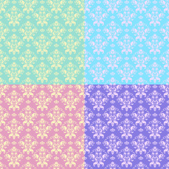 Four seamless floral classic pattern.