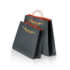 Black paper bags, vector