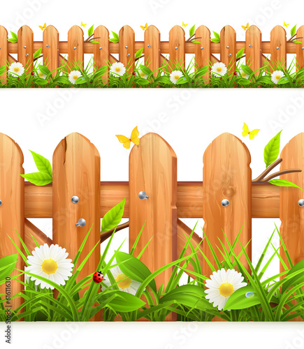 Grass and wooden fence seamless border, vector illustration