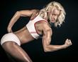 Blonde athlete ready to run