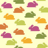 Seamless background with funny bunnies