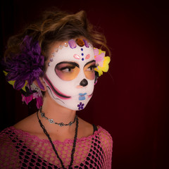 Day of the Dead Girl in Costume