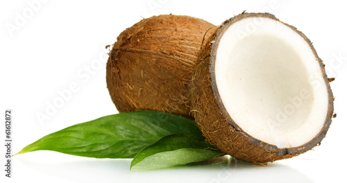 Leinwandbild Motiv Fresh coconut isolated on white