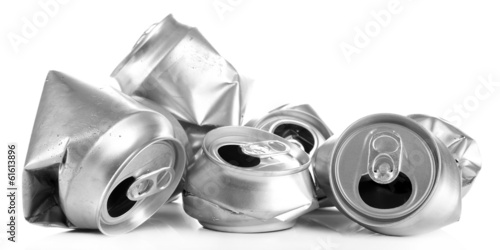 Crushed metal beer cans isolated on white